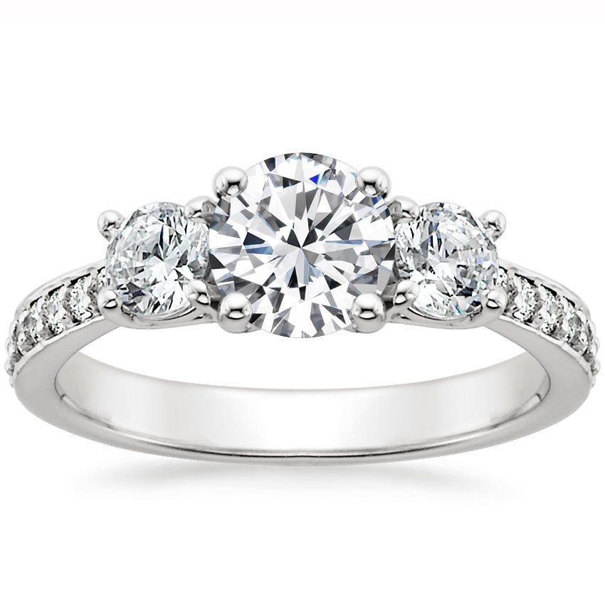 18K White Gold Three Stone Round Diamond Pavé Trellis Ring, top view
