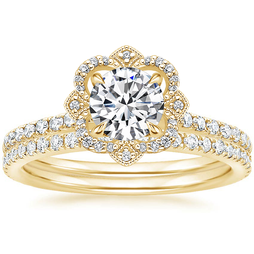 18K Yellow Gold Reina Diamond Ring with Luxe Ballad Diamond Ring (1/4 ct. tw.)