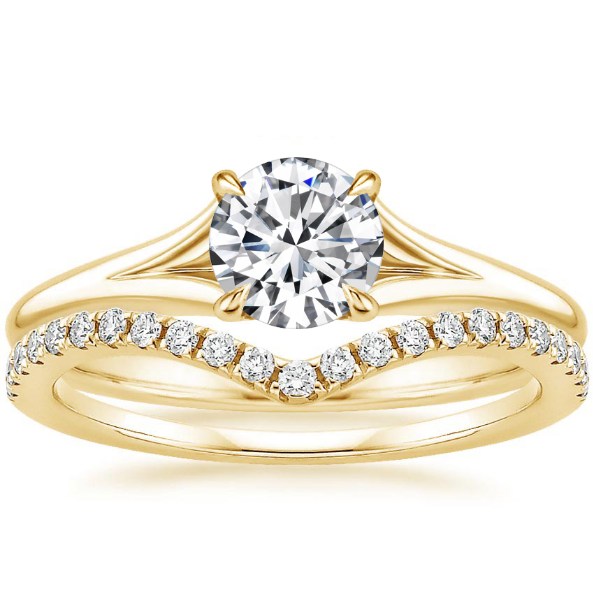 18K Yellow Gold Reverie Ring with Flair Diamond Ring (1/6 ct. tw.)