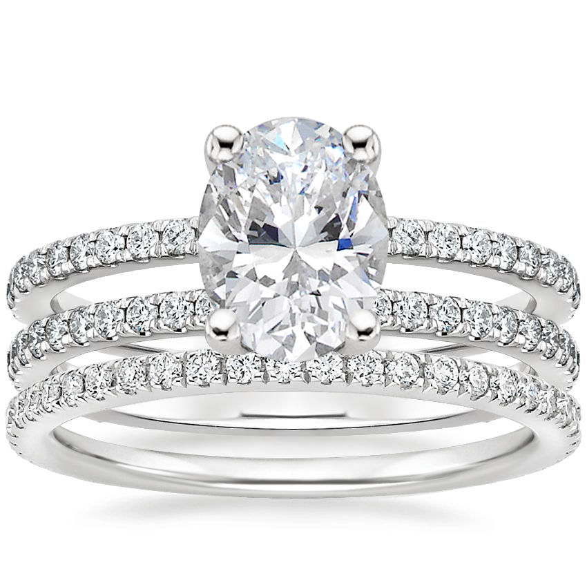 18K White Gold Linnia Diamond Ring (1/2 ct. tw.) with Luxe Ballad Diamond Ring (1/4 ct. tw.)