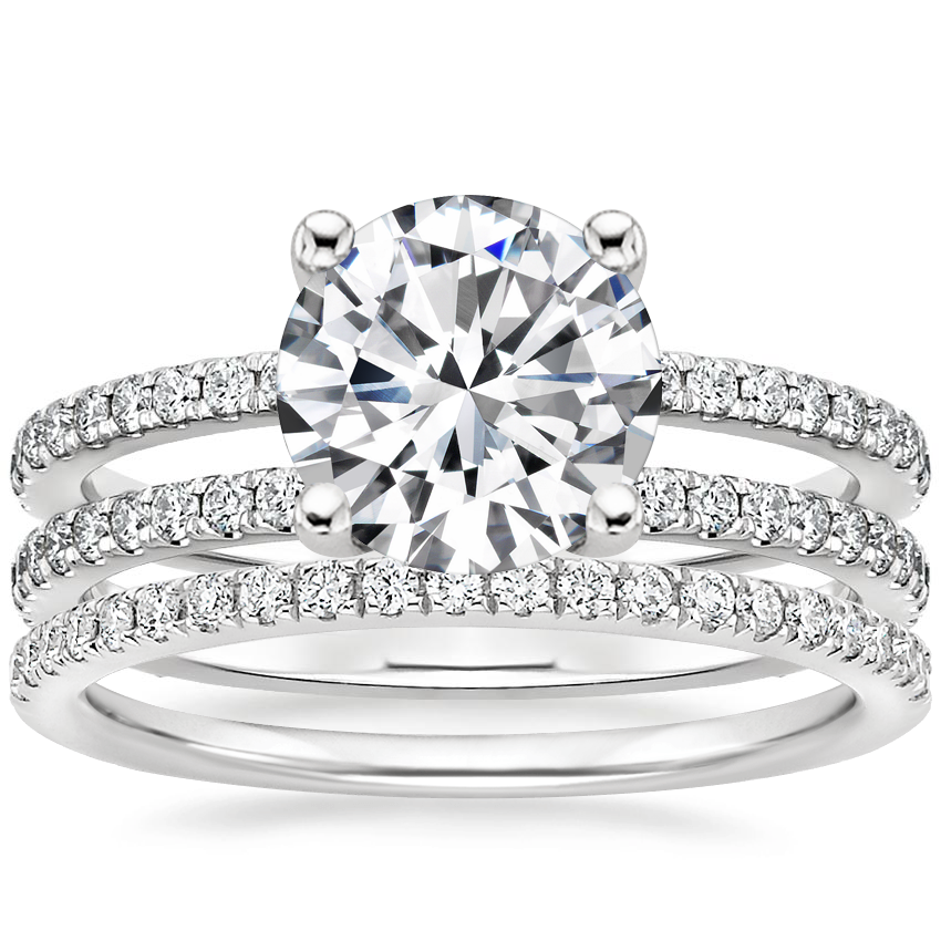 18K White Gold Linnia Diamond Ring with Ballad Diamond Ring (1/6 ct. tw.)