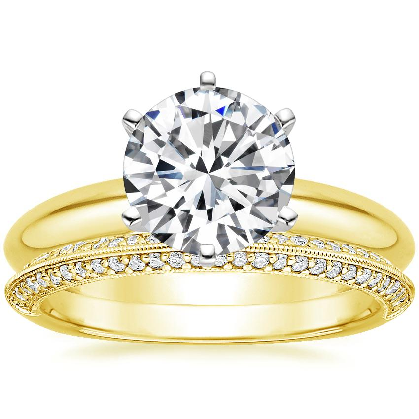18K Yellow Gold Six-Prong Classic Ring with Callista Diamond Ring
