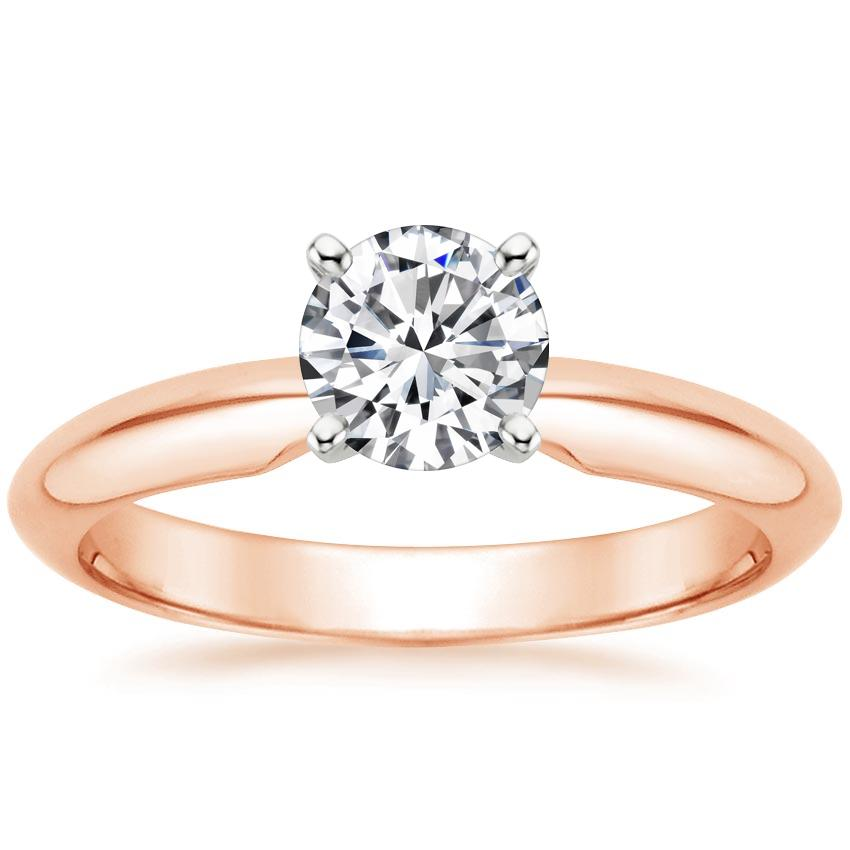 14K Rose Gold Four-Prong Classic Ring, top view