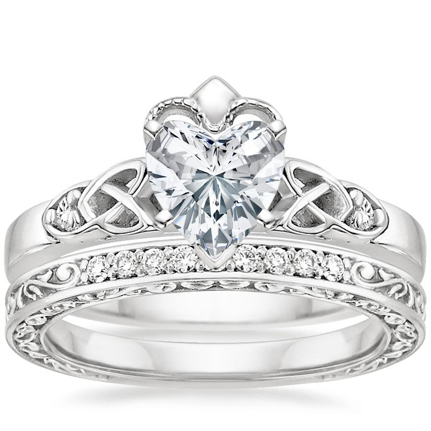 18K White Gold Celtic Claddagh Diamond Ring with Delicate Antique Scroll Diamond Ring (1/15 ct. tw.)