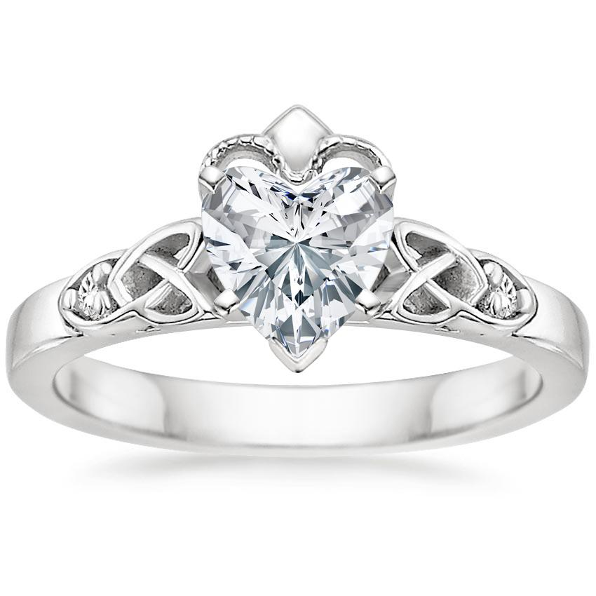 Heart Platinum Celtic Claddagh Diamond Ring