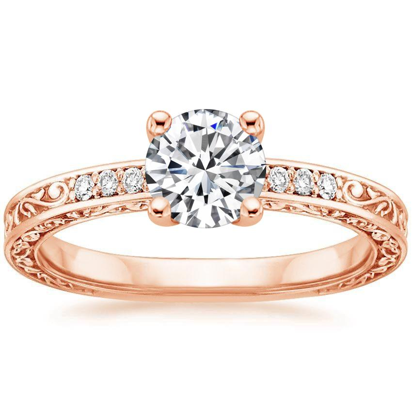 14K Rose Gold Delicate Antique Scroll Diamond Ring, top view