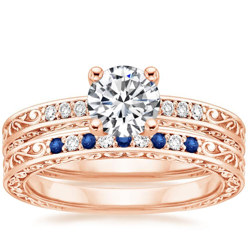 Antique Scroll Bands: 14K Rose Gold Delicate Antique Scroll Diamond Ring With