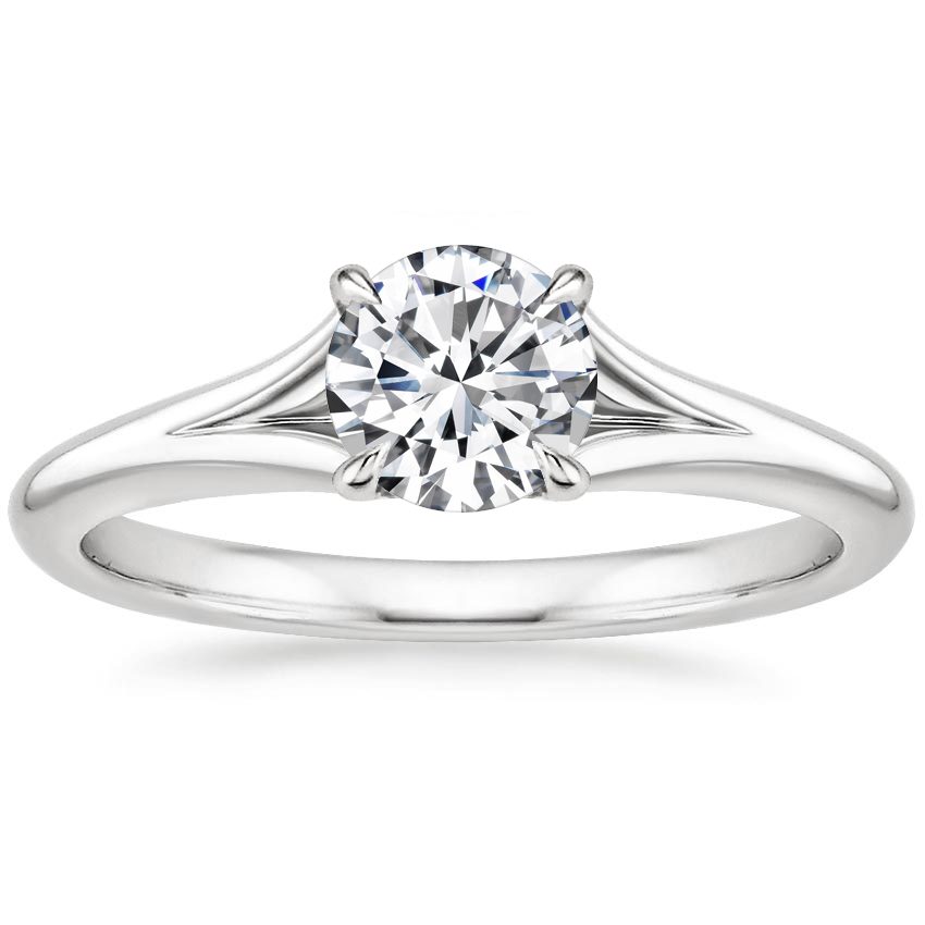 Round Split Shank Solitaire Engagement Ring