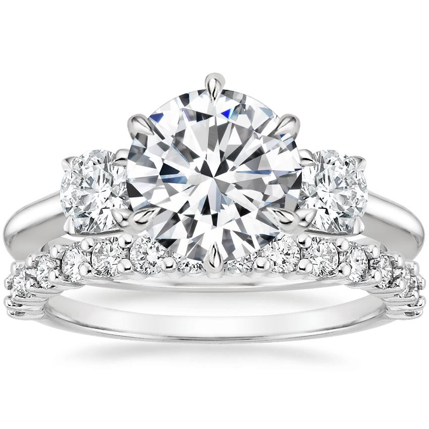 Platinum Three Stone Catalina Diamond Ring (1/2 ct. tw.) with Shared Prong Diamond Ring (2/5 ct. tw.)