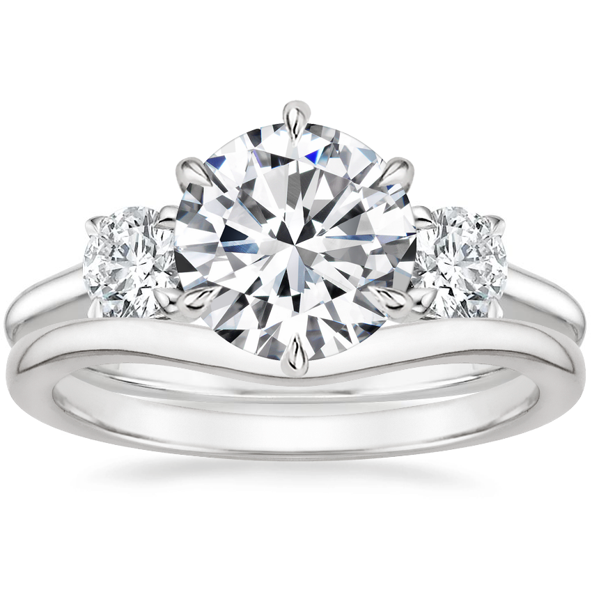 Platinum Three Stone Catalina Diamond Ring (1/2 ct. tw.) with Petite Curved Wedding Ring