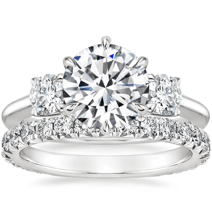 Platinum Three Stone Catalina Diamond Ring (1/2 ct. tw.) with Luxe Sienna Diamond Ring (5/8 ct. tw.)