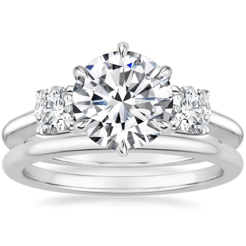 Platinum Three Stone Catalina Diamond Ring (1/2 ct. tw.) with Petite Comfort Fit Wedding Ring