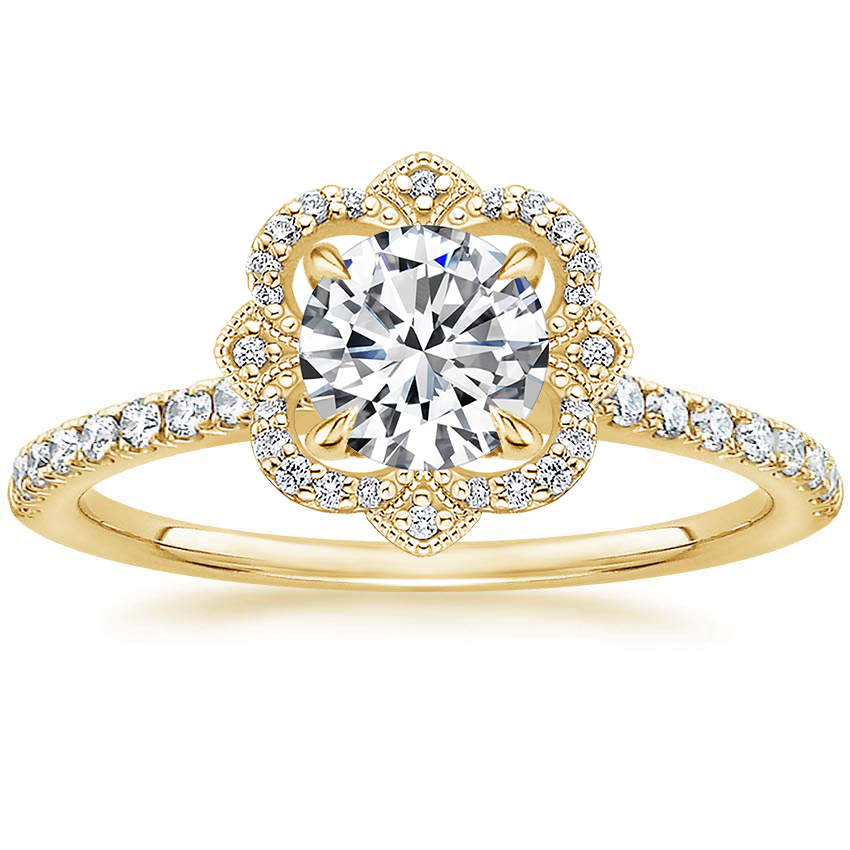 Round 18K Yellow Gold Reina Diamond Ring