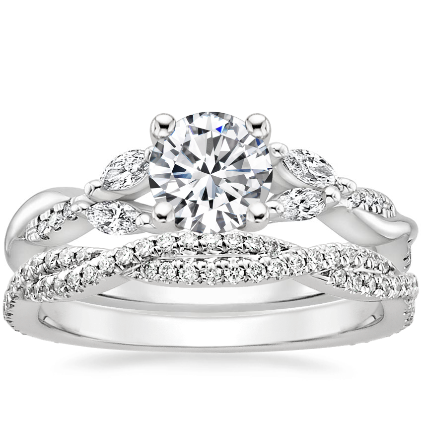 18K White Gold Cassia Diamond Ring with Petite Luxe Twisted Vine Diamond Ring (1/4 ct. tw.)