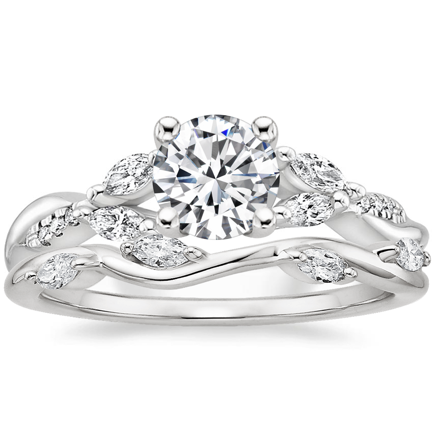 Platinum Cassia Diamond Ring with Winding Willow Diamond Ring (1/8 ct. tw.)
