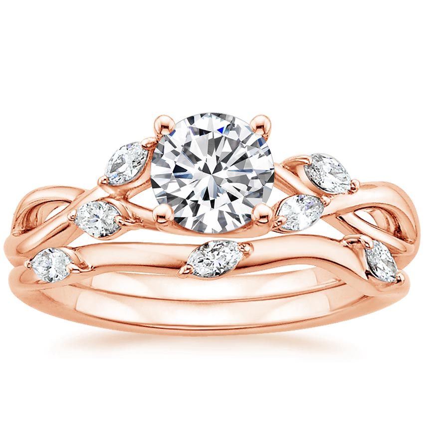 14K Rose Gold Willow Matched Set (1/4 ct. tw.), top view