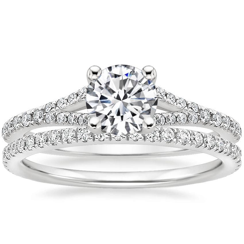 18K White Gold Flair Diamond Ring with Luxe Ballad Diamond Ring (1/4 ct. tw.)