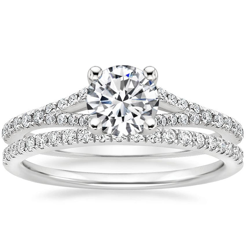 18K White Gold Flair Diamond Ring with Ballad Diamond Ring (1/6 ct. tw.)