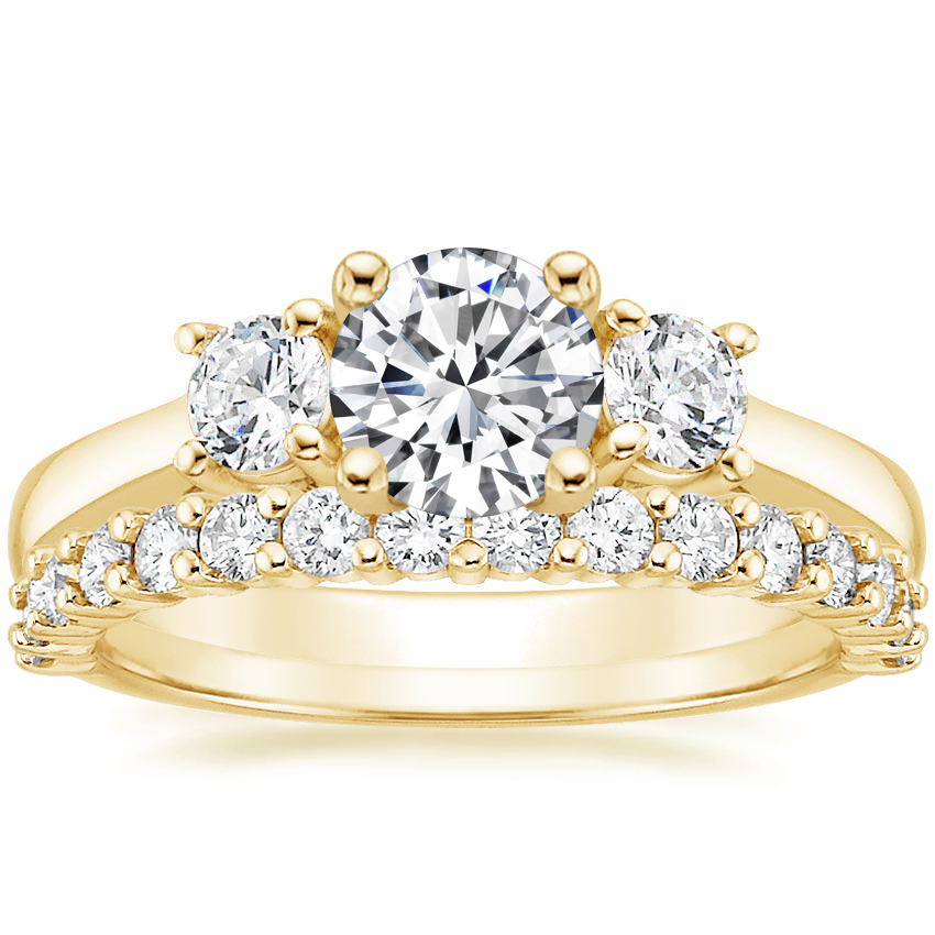 18K Yellow Gold Petite Three Stone Trellis Diamond Ring (1/3 ct. tw.) with Shared Prong Diamond Ring (2/5 ct. tw.)