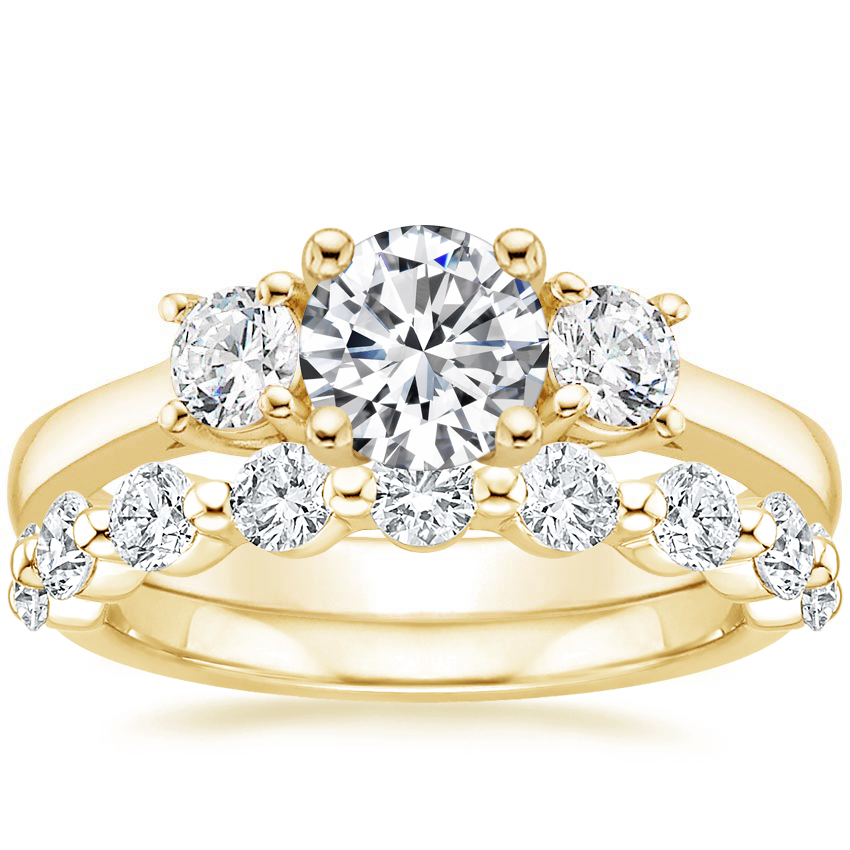 18K Yellow Gold Petite Three Stone Trellis Diamond Ring (1/3 ct. tw.) with Monaco Diamond Ring (3/4 ct. tw.)