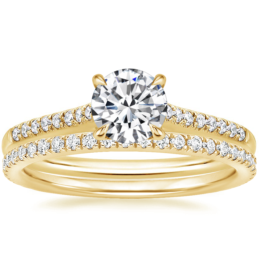 18K Yellow Gold Lissome Diamond Ring (1/10 ct. tw.) with Luxe Ballad Diamond Ring (1/4 ct. tw.)