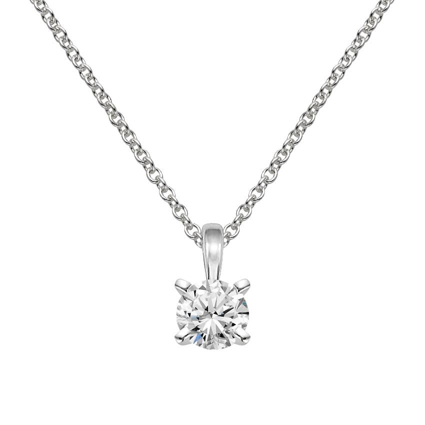18K White Gold Single Bail Four Prong Pendant, top view