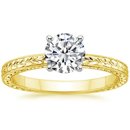 Round 18K Yellow Gold Verona Ring