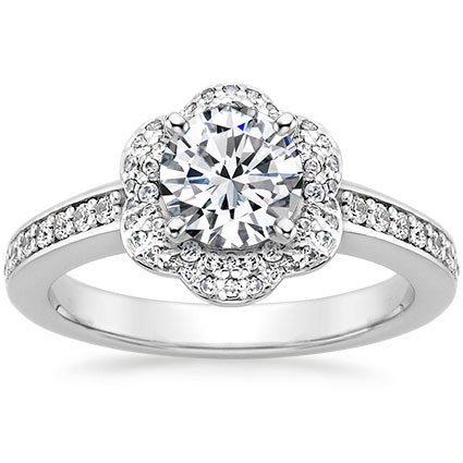 Round Platinum Rosette Diamond Ring