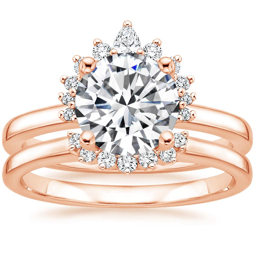 14K Rose Gold Crescent Diamond Bridal Set