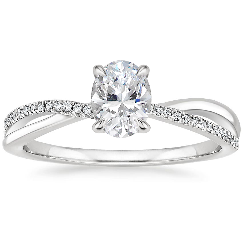 Oval Twisting Diamond Accented Engagement Ring