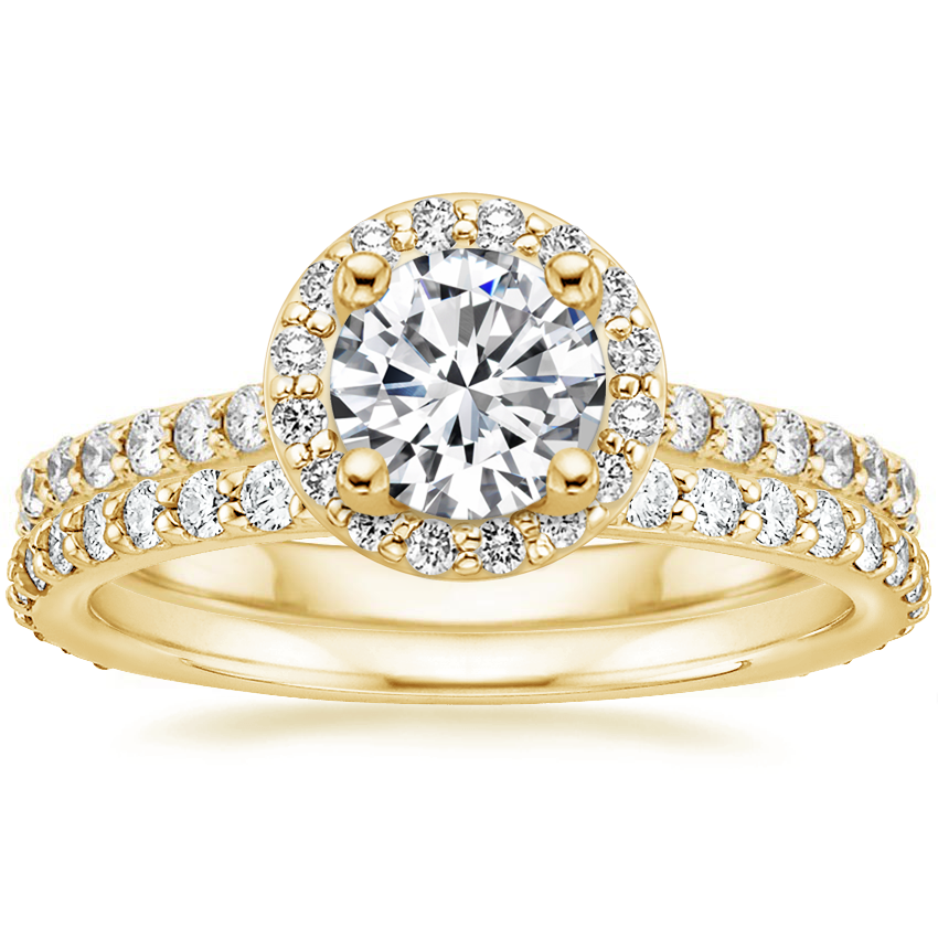 18K Yellow Gold Halo Diamond Ring with Side Stones (1/3 ct. tw.) with Petite Shared Prong Eternity Diamond Ring (1/2 ct. tw.)