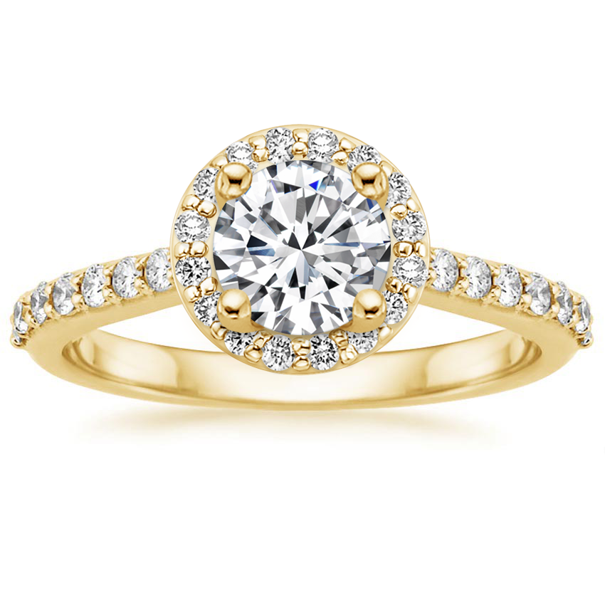 Round 18K Yellow Gold Halo Diamond Ring with Side Stones (1/3 ct. tw.)