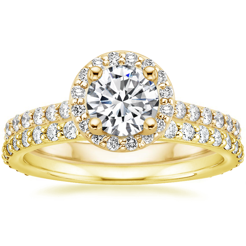 18K Yellow Gold Halo Diamond Ring with Side Stones (1/3 ct. tw.) with Luxe Petite Shared Prong Diamond Ring (3/8 ct. tw.)