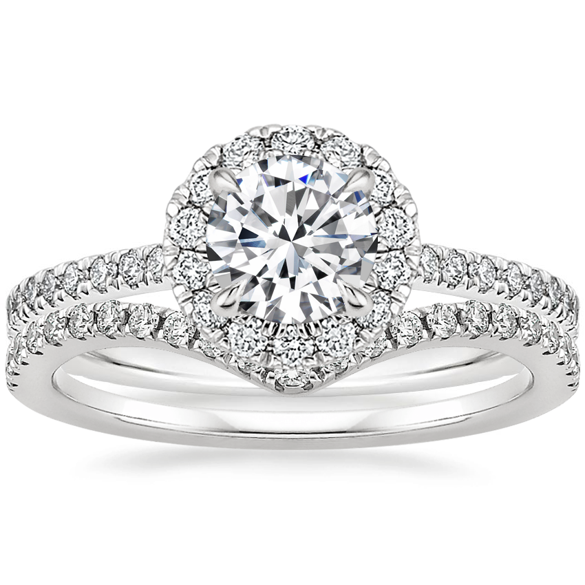 18K White Gold Luxe Ballad Halo Diamond Ring (1/3 ct. tw.) with Flair Diamond Ring (1/6 ct. tw.)