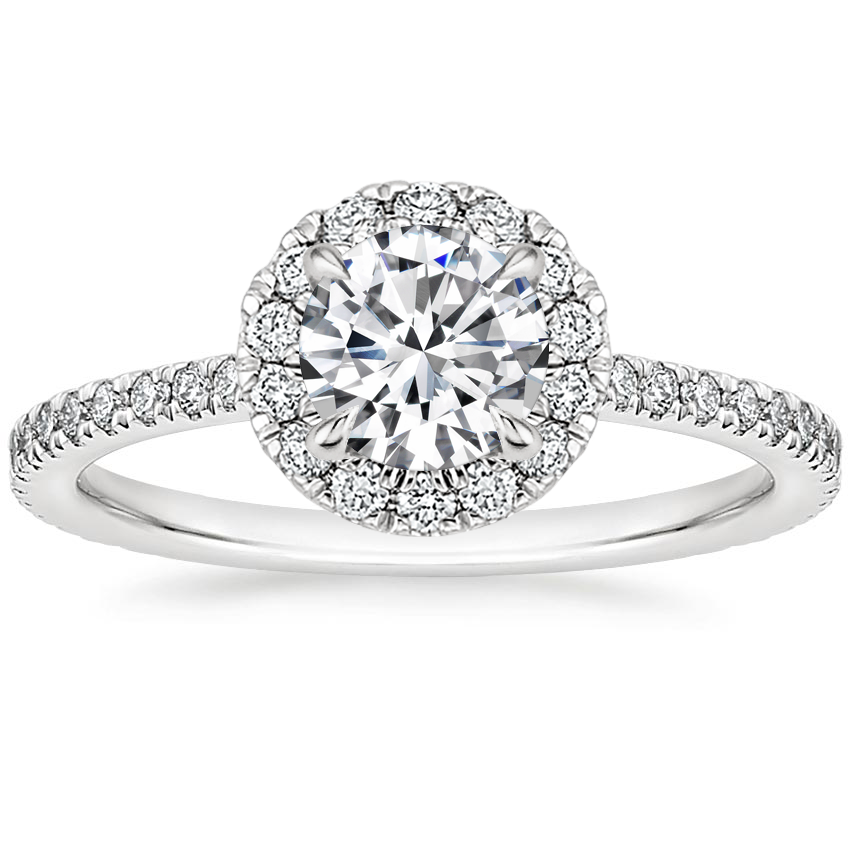 Round Pavé Diamond Halo Ring