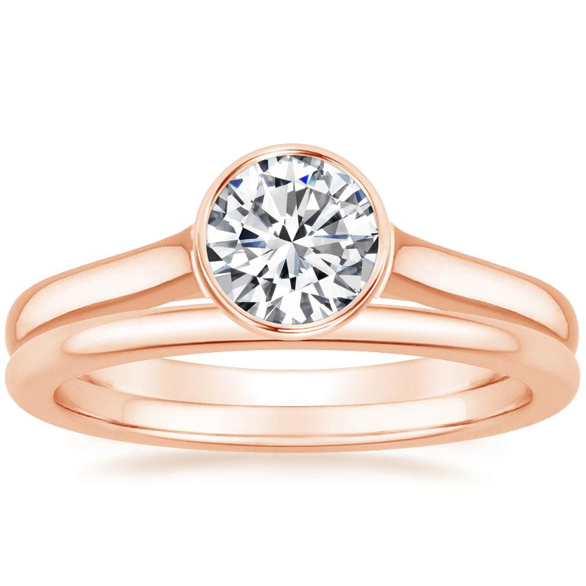 14K Rose Gold Luna Ring with Petite Comfort Fit Wedding Ring