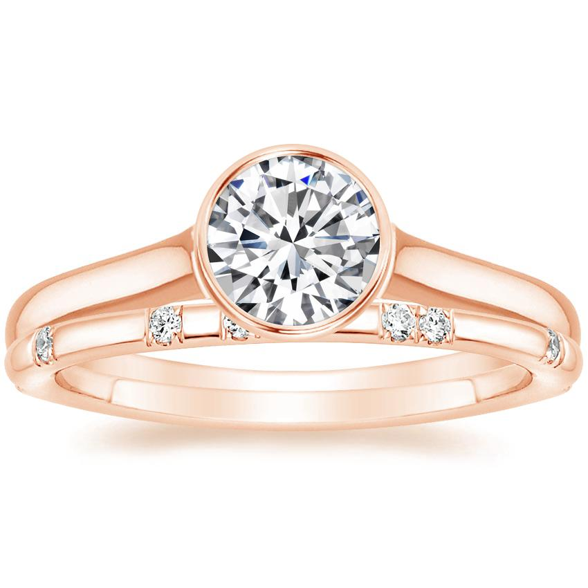 14K Rose Gold Luna Ring with Astra Diamond Ring