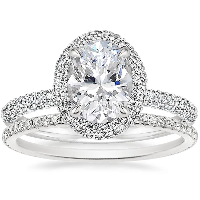 18K White Gold Valencia Halo Diamond Ring (1/2 ct. tw.) with Whisper Eternity Diamond Ring (1/4 ct. tw.)