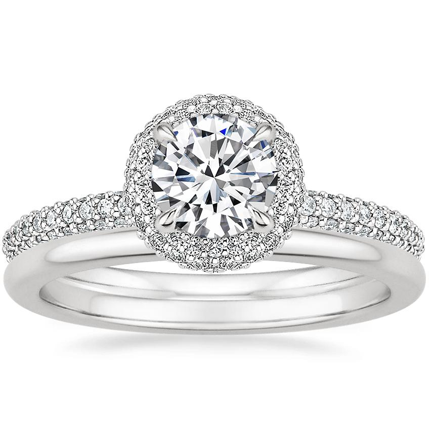 Platinum Valencia Halo Diamond Ring (1/2 ct. tw.) with Petite Comfort Fit Wedding Ring