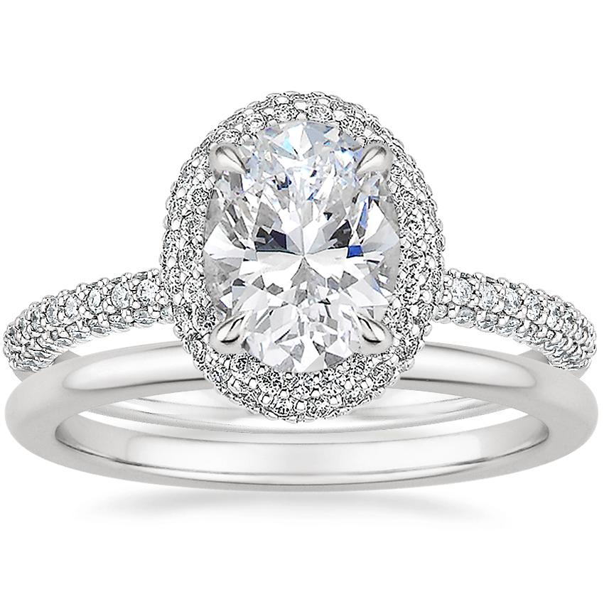 18K White Gold Valencia Halo Diamond Ring (1/2 ct. tw.) with Petite Comfort Fit Wedding Ring
