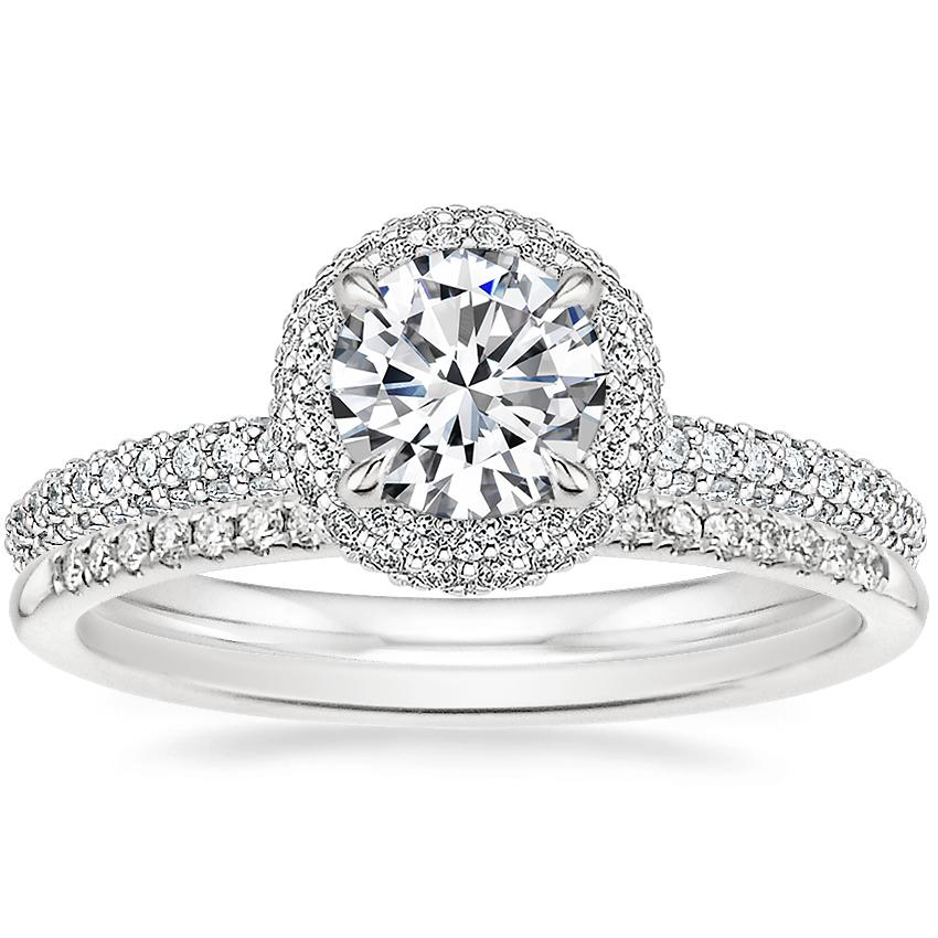 Platinum Valencia Halo Diamond Ring (1/2 ct. tw.) with Whisper Diamond Ring (1/10 ct. tw.)