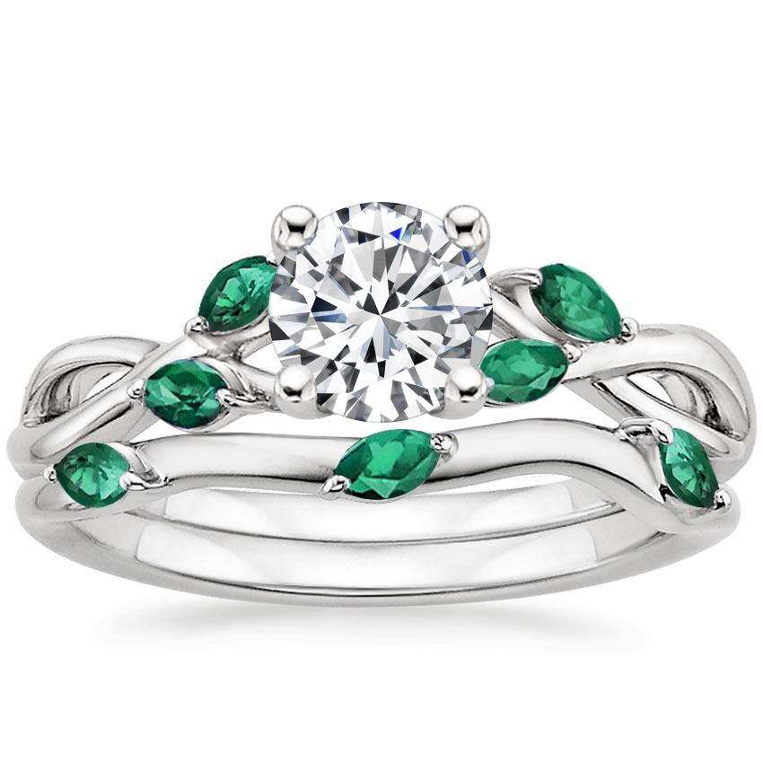 18K White Gold Willow Bridal Set With Lab Emerald Accents