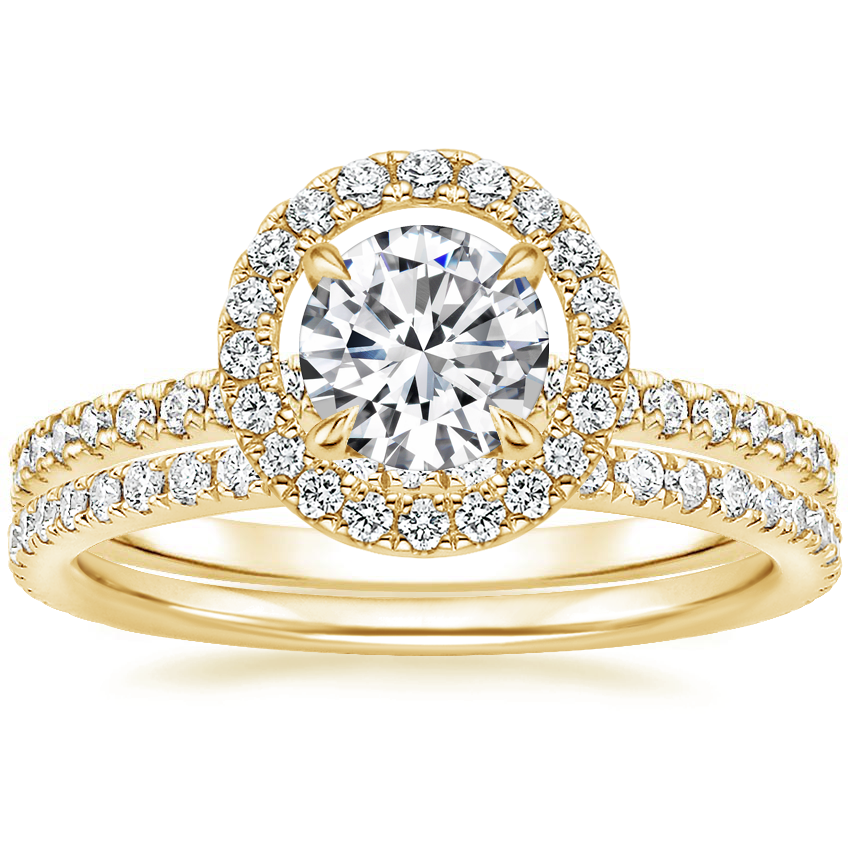 18K Yellow Gold Aura Diamond Ring with Luxe Ballad Diamond Ring (1/4 ct. tw.)