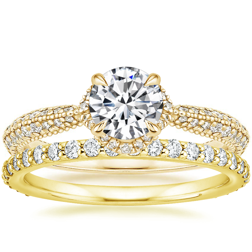 18K Yellow Gold Aster Diamond Ring (1/3 ct. tw.) with Luxe Petite Shared Prong Diamond Ring (3/8 ct. tw.)