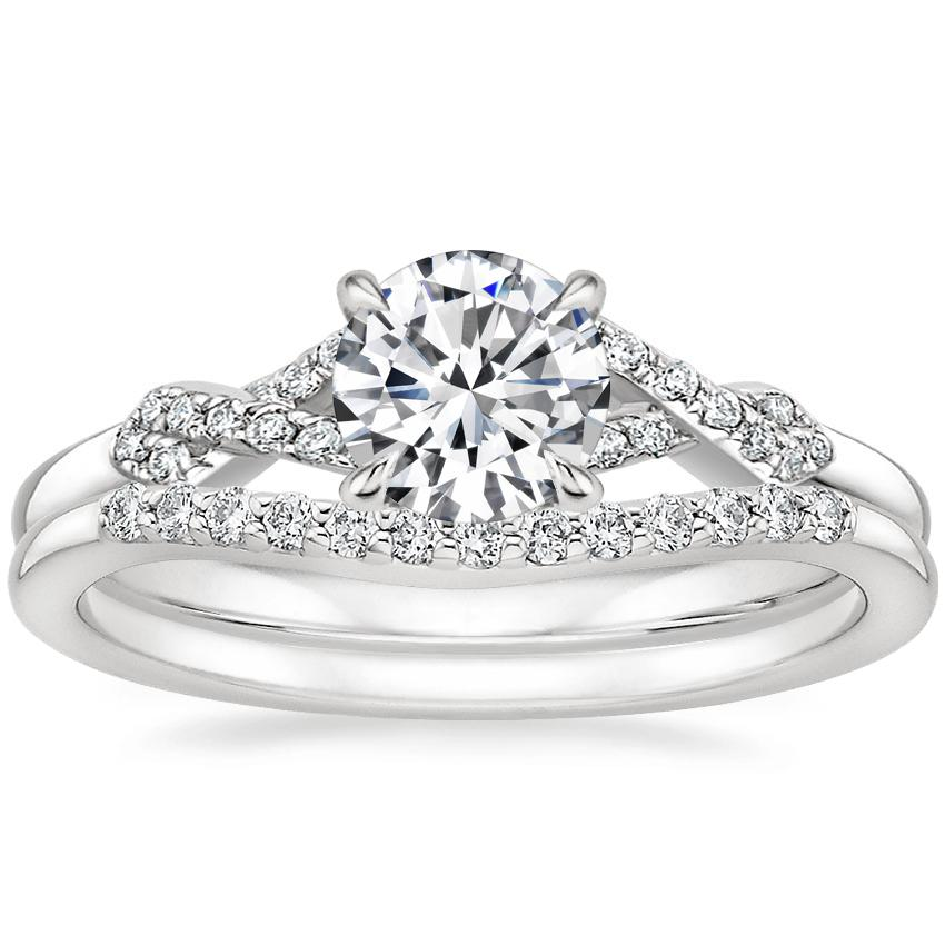 18K White Gold Delta Diamond Ring with Petite Curved Diamond Ring