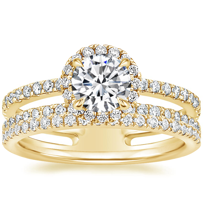 18K Yellow Gold Linnia Halo Diamond Ring (2/3 ct. tw.) with Ballad Diamond Ring (1/6 ct. tw.)