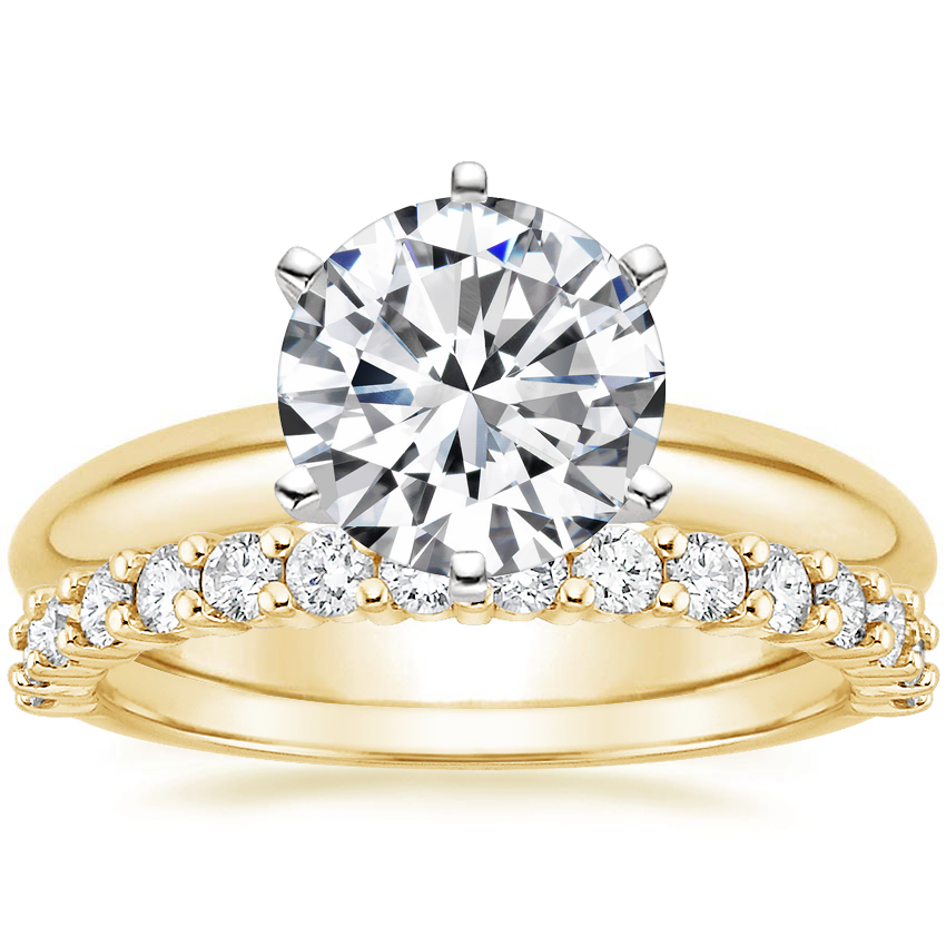 18K Yellow Gold Six-Prong Classic Ring with Shared Prong Diamond Ring (2/5 ct. tw.)