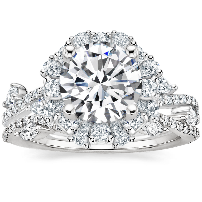 Platinum Blooming Rose Diamond Ring (1 ct. tw.) with Luxe Winding Willow Diamond Ring (1/4 ct. tw.)