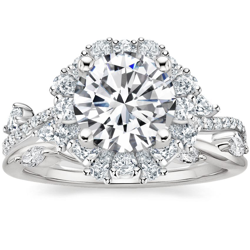 Platinum Blooming Rose Diamond Ring (1 ct. tw.) with Winding Willow Diamond Ring