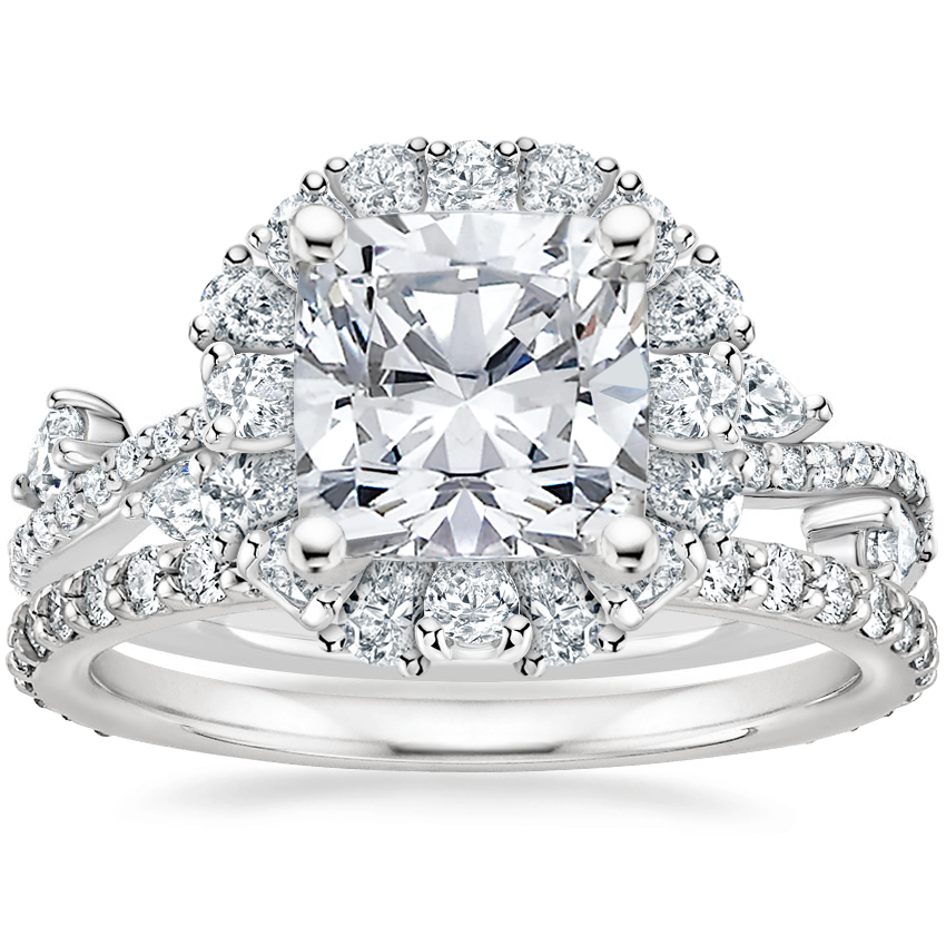 18K White Gold Blooming Rose Diamond Ring (1 ct. tw.) with Luxe Petite Shared Prong Diamond Ring (3/8 ct. tw.)